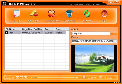 AVI To PSP Converter Screenshot