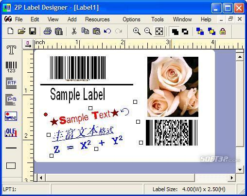 2P Label Designer Screenshot