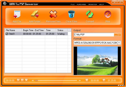 WMV To PSP Converter Screenshot