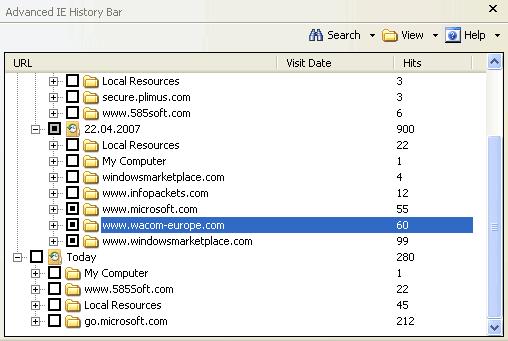 Advanced IE History Bar Screenshot
