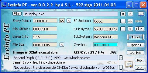 ExEinfo PE Win32 bit identifier Screenshot