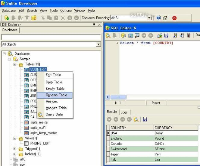 SQLite Developer Screenshot 3