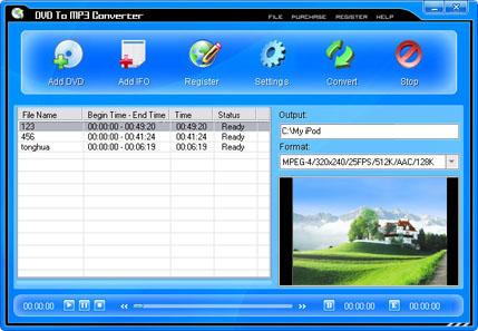 Pop DVD To MP3 Converter Screenshot