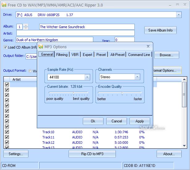 Free CD to WAV MP3 WMA AMR AC3 AAC Ripper Screenshot 3