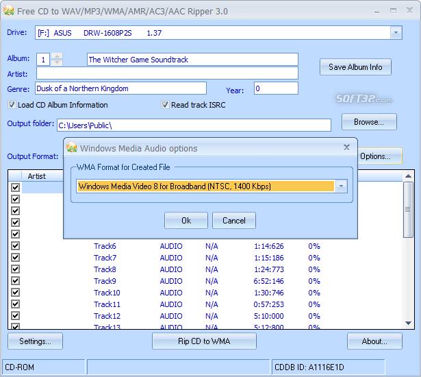 Free CD to WAV MP3 WMA AMR AC3 AAC Ripper Screenshot 4