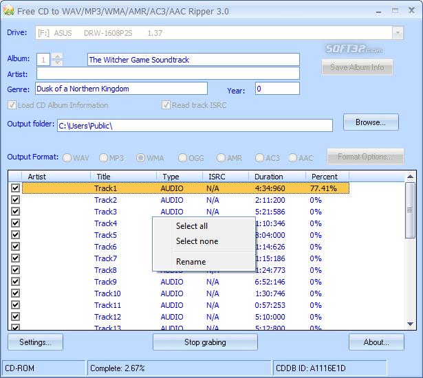 Free CD to WAV MP3 WMA AMR AC3 AAC Ripper Screenshot 5