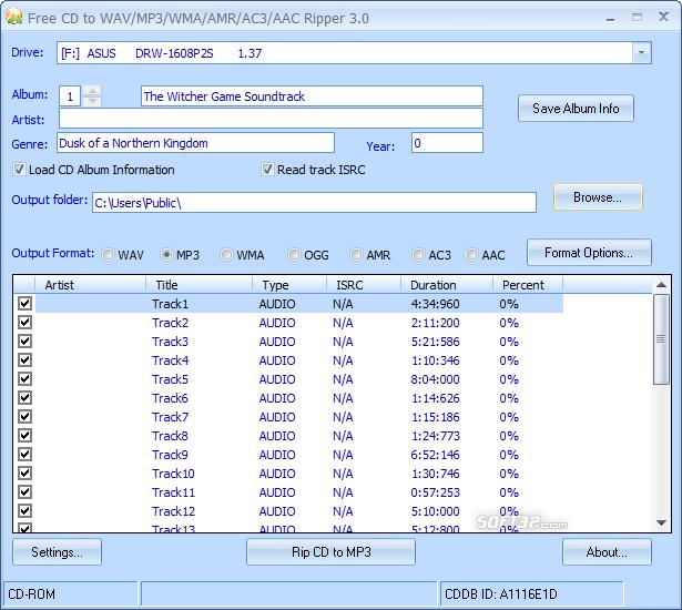 Free CD to WAV MP3 WMA AMR AC3 AAC Ripper Screenshot 6