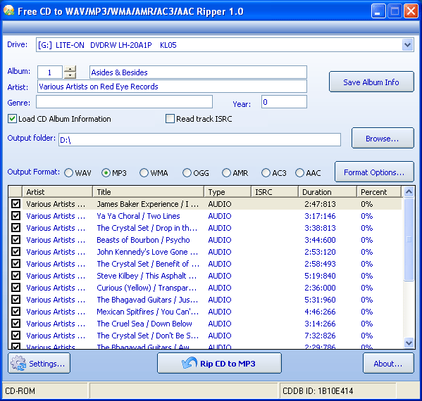 Free CD to WAV MP3 WMA AMR AC3 AAC Ripper Screenshot