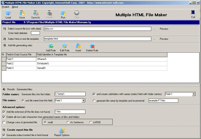 Multiple HTML File Maker Screenshot