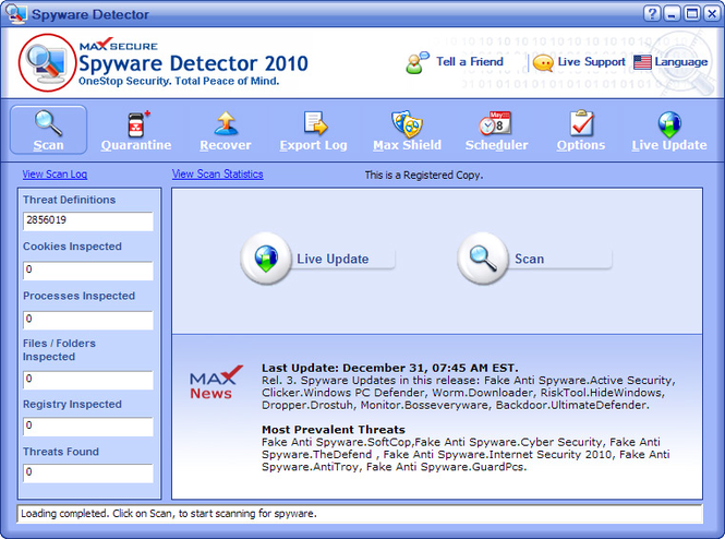 Max Secure Spyware Detector Screenshot