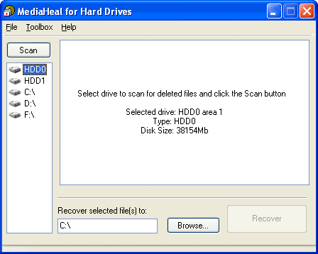 MediaHeal for Hard Drives Screenshot
