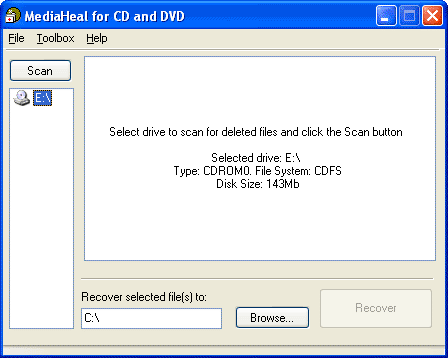 MediaHeal for CD and DVD Screenshot