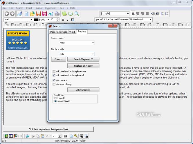 eBooksWriter LITE Screenshot 3