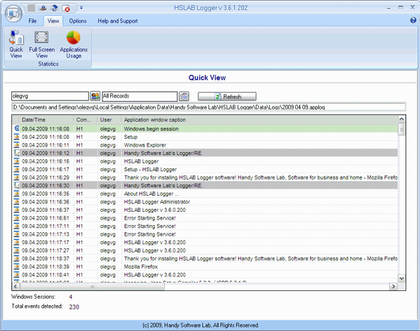 HSLAB Free Logger Screenshot