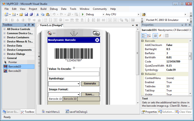 Barcode Professional for .NET Compact Framework Screenshot