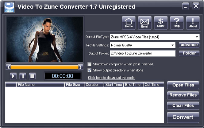 iWellsoft Video to Zune Converter Screenshot
