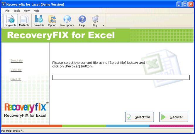 RecoveryFix for Excel Screenshot