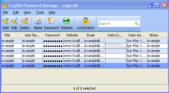 Trujillo Password Manager Screenshot