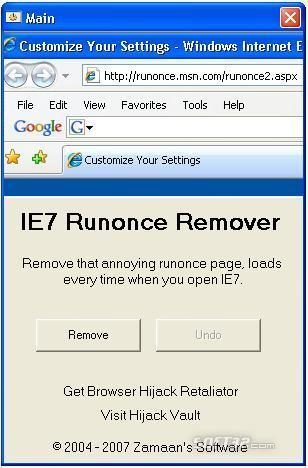 IE7 Runonce Remover Screenshot 1