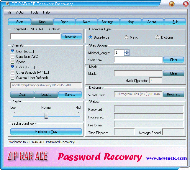 ZIP RAR ACE Password Recovery Screenshot