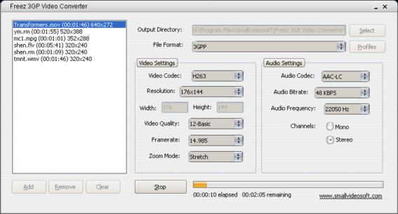 Freez 3GP Video Converter Screenshot