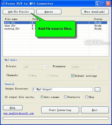 Freez Flv to Mp3 Converter Screenshot 2