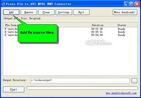 Freez Flv to AVI MPEG WMV Converter Screenshot