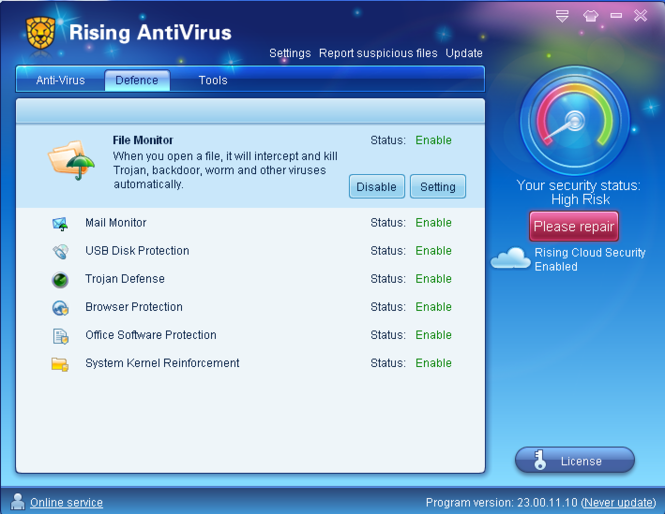 Rising Antivirus 2010 Screenshot
