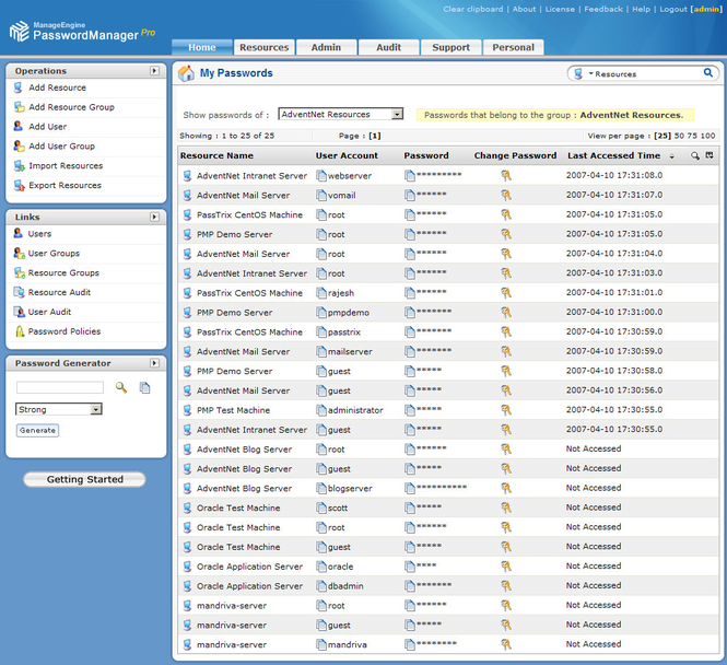 ManageEngine PasswordManager Pro Free Edition Screenshot