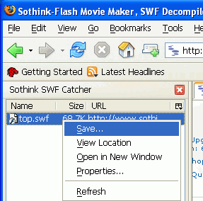 Sothink SWF Catcher for Firefox - Free Screenshot