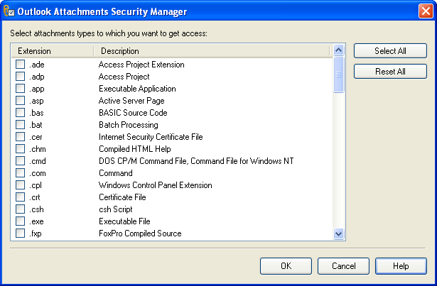 Outlook Attachments Security Manager Screenshot