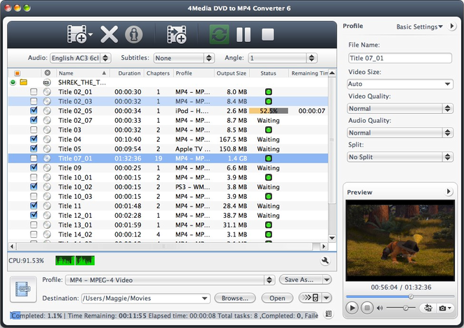 4Media DVD to MP4 Converter for Mac Screenshot 1
