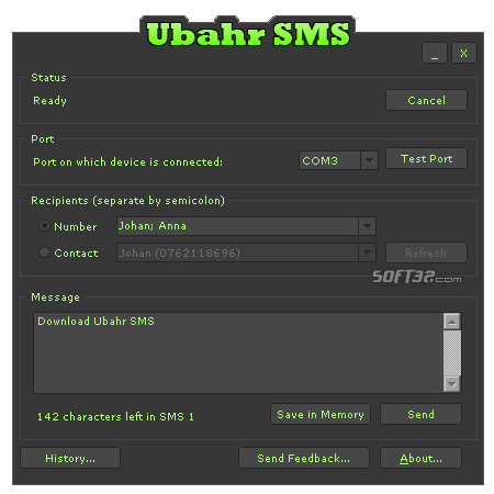 Ubahr SMS Screenshot
