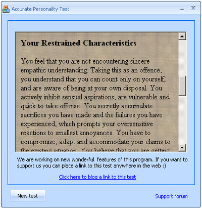 Personality tests package Screenshot 1