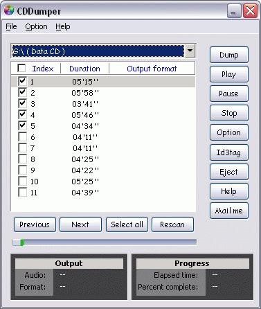 Audio CD/DVD Dumper Screenshot 1