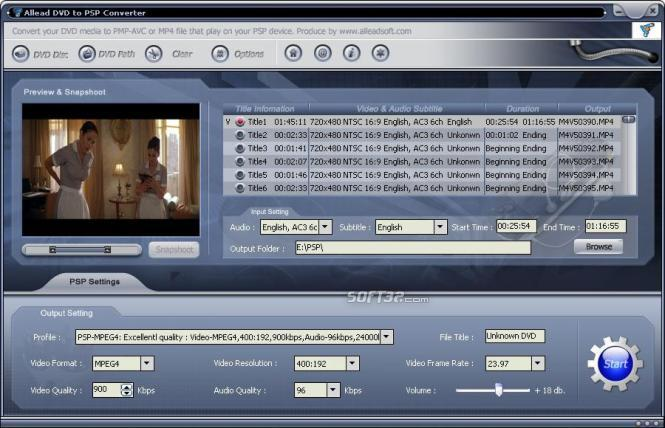 Allead DVD to PSP Converter Screenshot