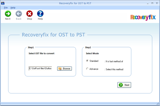 RecoveryFix for OST Screenshot