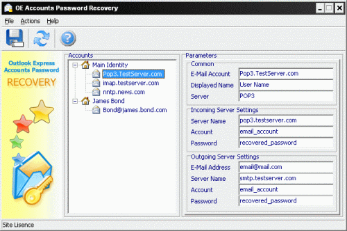 Outlook Express Accounts Password Recovery Screenshot