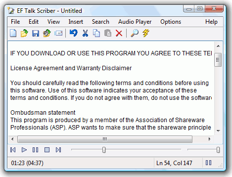 EF Talk Scriber Screenshot