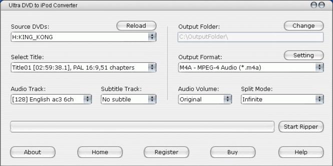Ultra DVD to iPod Converter Screenshot 1
