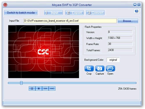 Moyea SWF to 3GP Converter Screenshot 1