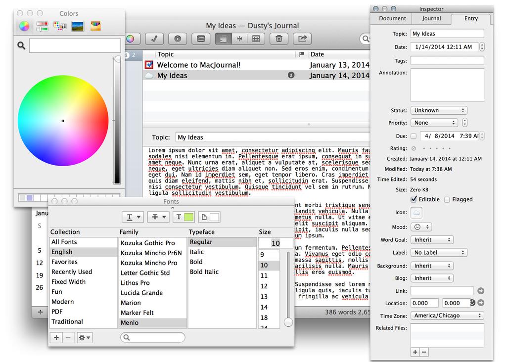 MacJournal Screenshot 3