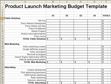 Product Launch Plan Marketing Budget Screenshot
