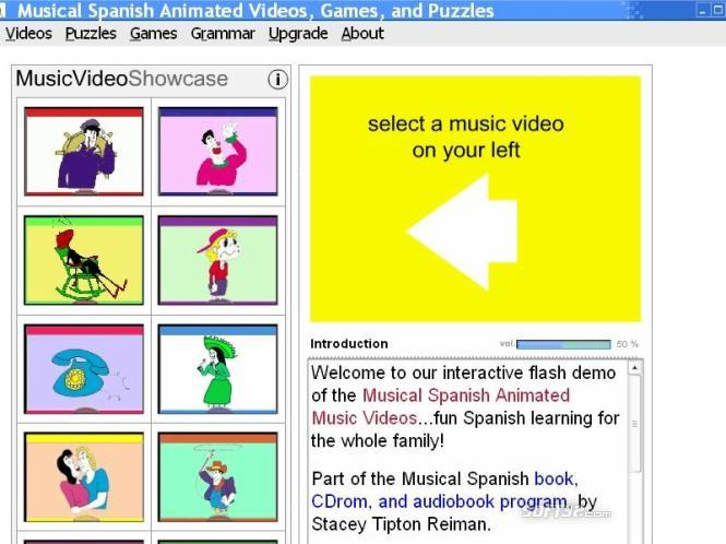 Musical Spanish Animated Videos, Games and Puzzles Screenshot 2
