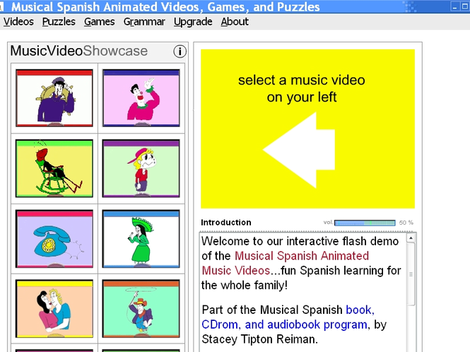 Musical Spanish Animated Videos, Games and Puzzles Screenshot
