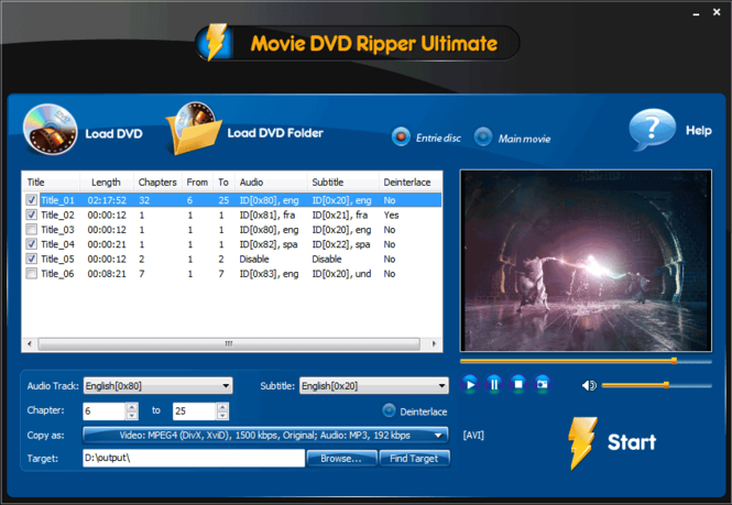 Movie DVD Ripper Ultimate Screenshot 2