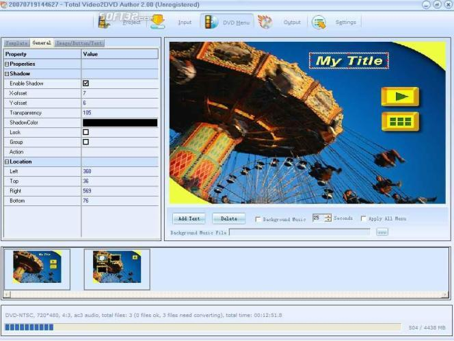 Total Video2Dvd Screenshot 2