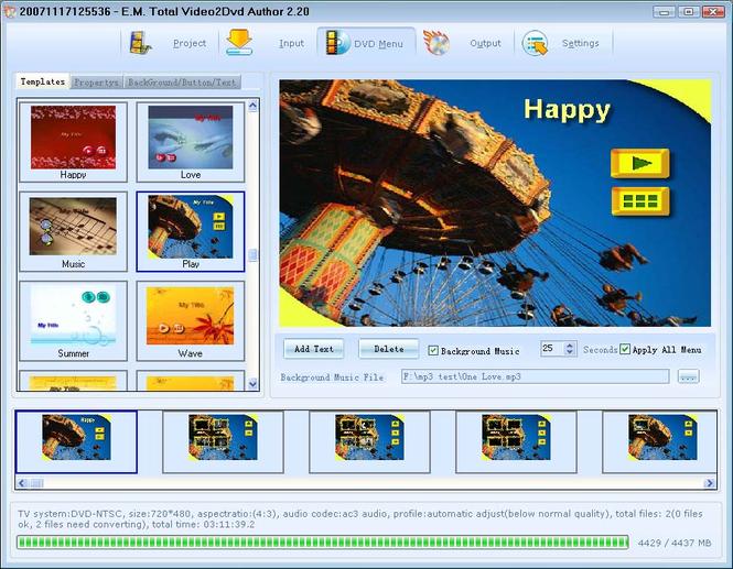 Total Video2Dvd Screenshot 1