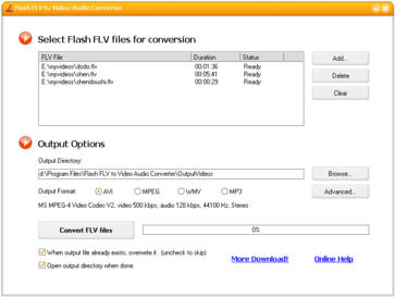 Flash FLV to Video/Audio Converter Screenshot 1