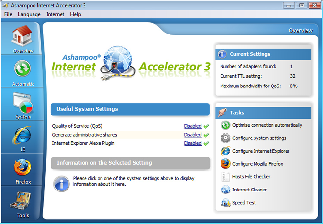 Ashampoo Internet Accelerator 3 Screenshot 1